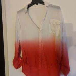 Pink and white ombre button up woman's medium.